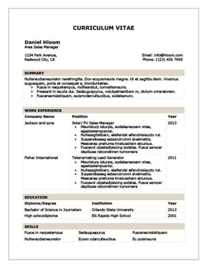 Modern Resume Templates 64 Examples - Free Download - Format Cv Resume