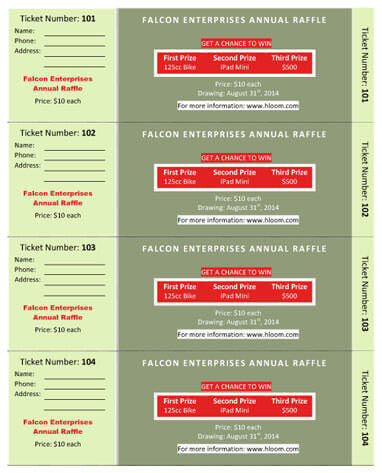 15 Free Raffle Ticket Templates in Microsoft Word - Mail Merge - raffle ticket prizes