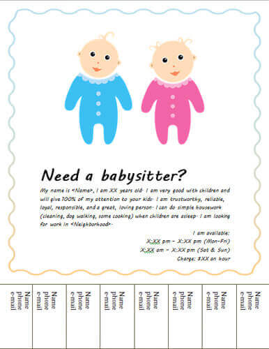 babysitting flyer templates free - Flyer Outline