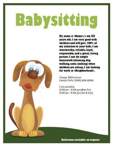 babysitting adds