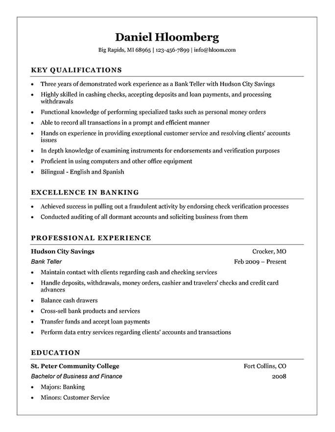 resume for cashier in bank
