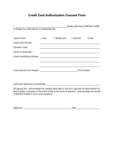 Credit Card Authorization Forms \u2022 Hloom