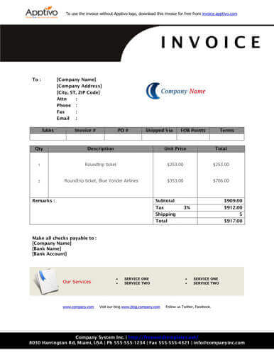 Sales Invoice Templates 27 Examples in Word and Excel - bill invoice template free