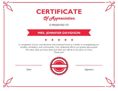 8 Free Printable Certificates of Appreciation Templates - Certificate Of Appreciation Words
