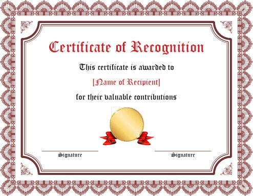27 Printable Award Certificates Achievement, Merit, Honor - blank certificate of recognition