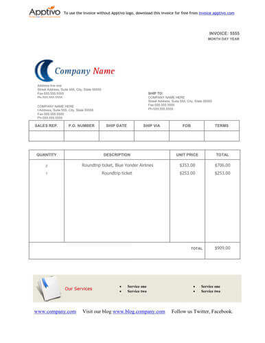 Sales Invoice Templates 27 Examples in Word and Excel - copy of a blank invoice