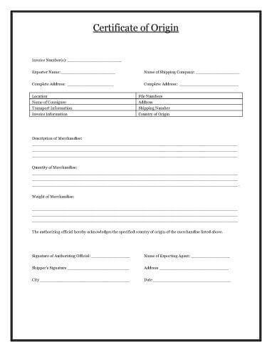 Certificate of Origin Template Download