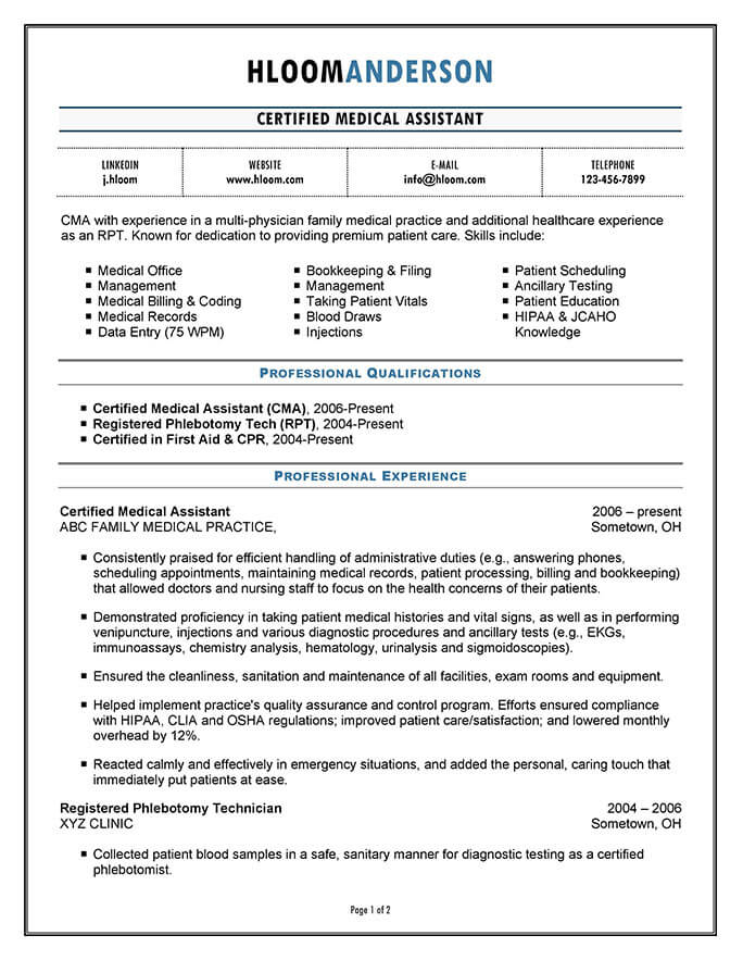 modern resume for certified medical assistant - Onwebioinnovate