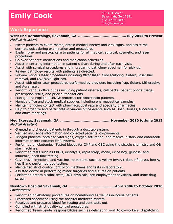 certified medical assistant resume job duties
