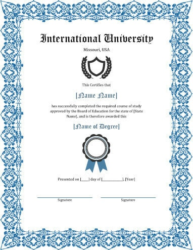 degree certificate template - Onwebioinnovate - Graduation Certificate Paper