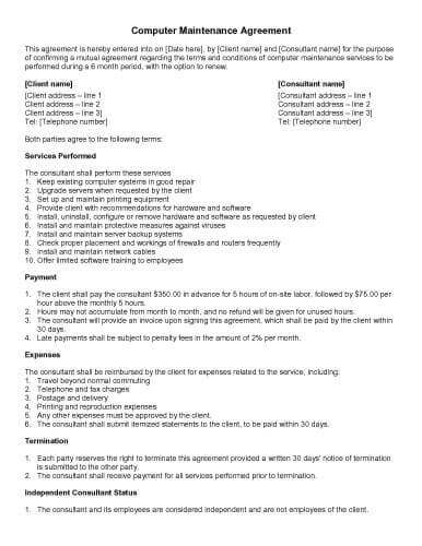 31 Sample Agreement Templates in Microsoft Word - sample maintenance contract template