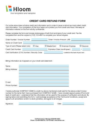 Credit Card Authorization Forms \u2022 Hloom - refund request form