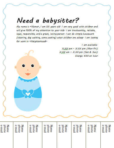 Babysitting Flyers and Ideas 16 Free Templates