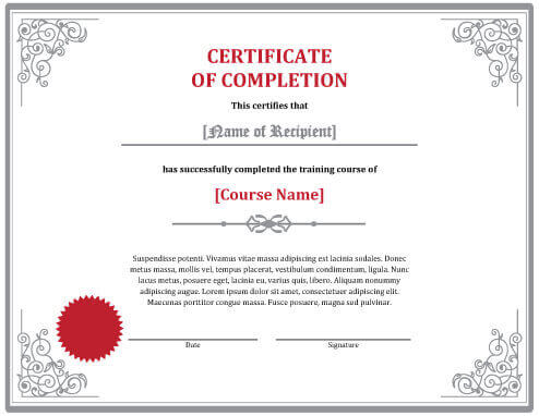 course completion certificate format – Training Certificate Template Free Download