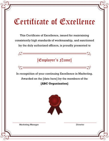 5 Free Printable Certificates of Excellence Templates - no objection certificate template