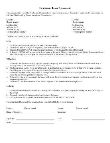 31 Sample Agreement Templates in Microsoft Word - equipment rental agreement sample