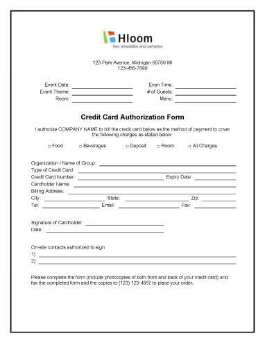 Credit Card Authorisation Form Template Australia Image collections