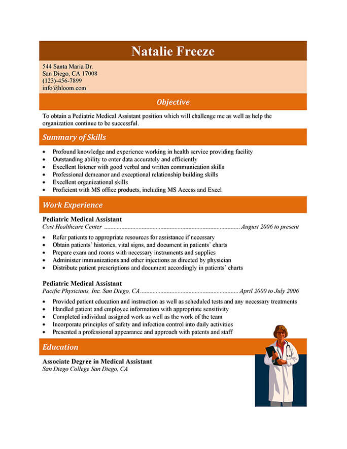 16 Free Medical Assistant Resume Templates - Clinic Clerk Sample Resume