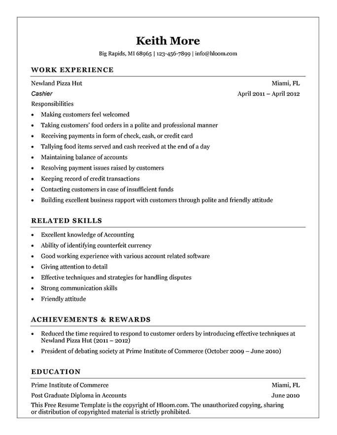 Cashier Resume How To Write + 16 Examples - Insuper Resume Builder