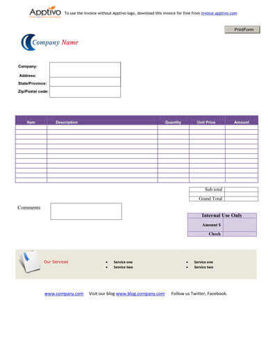 Sales Invoice Templates 27 Examples in Word and Excel - Free Invoices Com