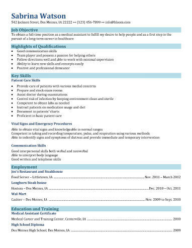 16 Free Medical Assistant Resume Templates - resume objective for medical field