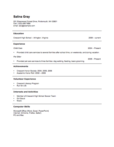 resume for no job experience sample