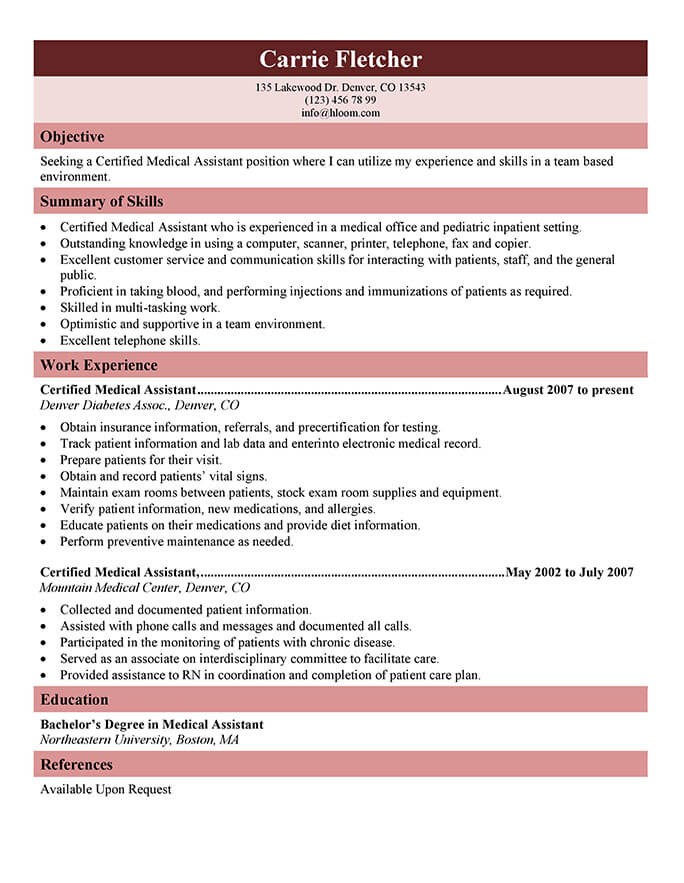 16 Free Medical Assistant Resume Templates - Certified Medical Assistant Description