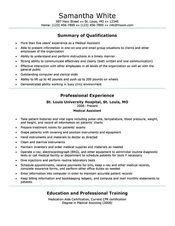 16 Free Medical Assistant Resume Templates - certified medication aide sample resume