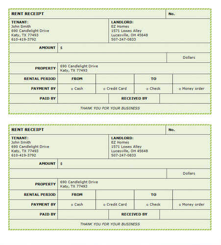 FREE Rent Receipt Templates - Download or Print