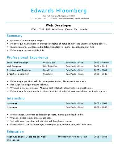 Simple Resume Templates 75 Examples - Free Download - Sample Of Resume Templates