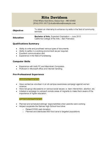 13 Student Resume Examples High School and College - resume templates high school graduate