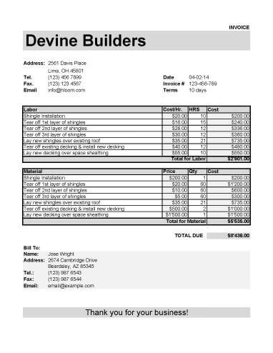 25 Free Service Invoice Templates Billing in Word and Excel - example of invoice form