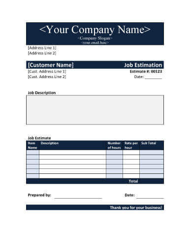11 Job Estimate Templates and Work Quotes Excel/Word