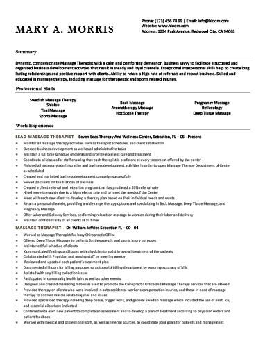 18 Free Massage Therapist Resume Templates - new massage therapist resume examples