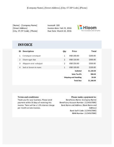19 Blank Invoice Templates in MS Excel