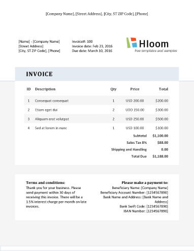 19 Blank Invoice Templates Microsoft Word - microsoft invoice template