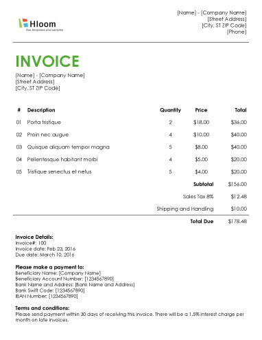 invoice layout word - Maggilocustdesign