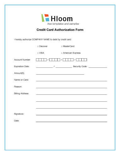 Credit Card Authorization Forms \u2022 Hloom