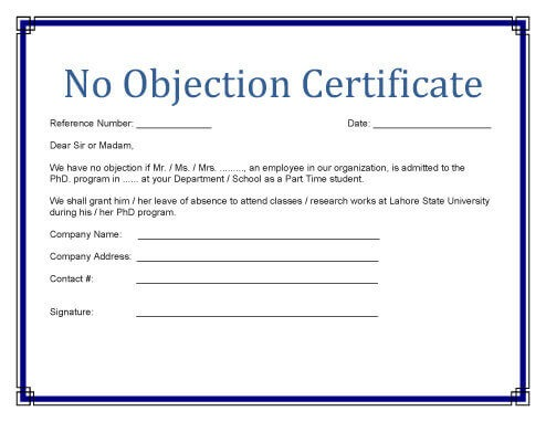 No Objection Certificate Templates property, study - no objection certificate template