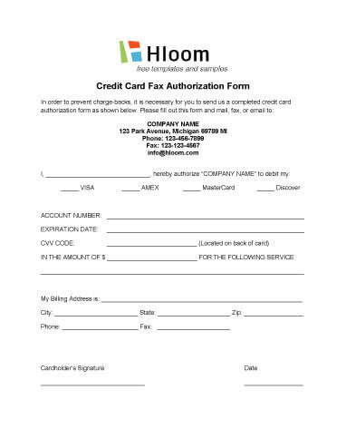 Credit Card Authorization Forms \u2022 Hloom - fax authorization form