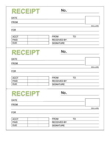 10 Free Rent Receipt Templates - printable receipt for services