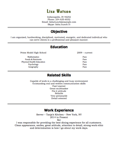 Job Search Job 12 Free High School Student Resume Examples For Teens