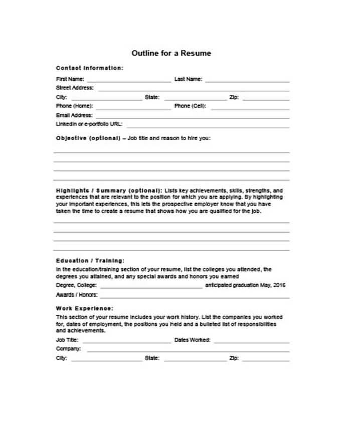 5 Customizable Resume Outline Templates and WorkSheets - Resume Format For Education
