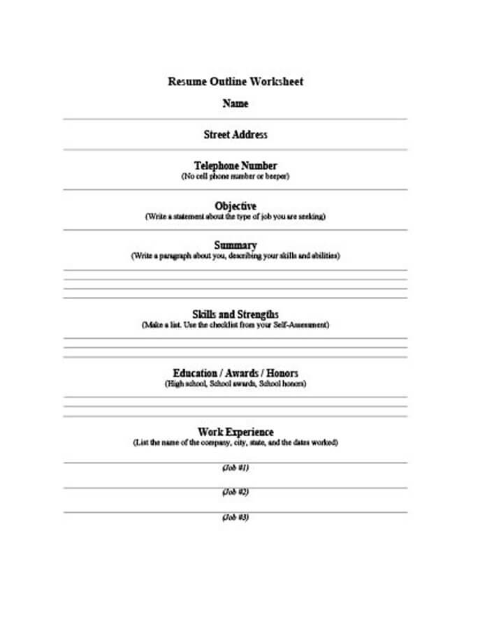 5 Customizable Resume Outline Templates and WorkSheets - job resume outline