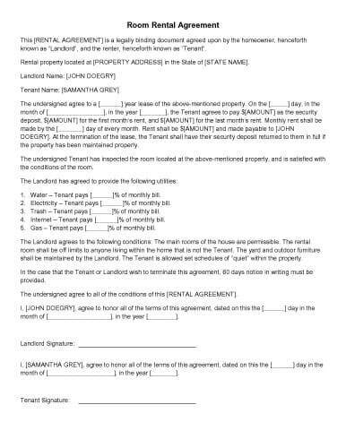 31 Sample Agreement Templates in Microsoft Word - sample room for rent contract