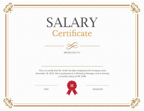 Printable Salary Certificate Templates Free Download - salary certificate template