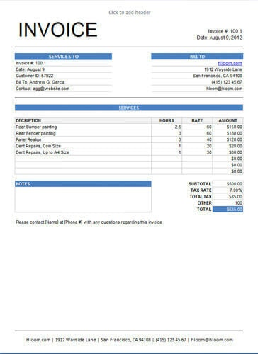 10 Free Freelance Invoice Templates Word / Excel - invoice layout example