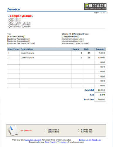 25 Free Service Invoice Templates Billing in Word and Excel - bill invoice template free