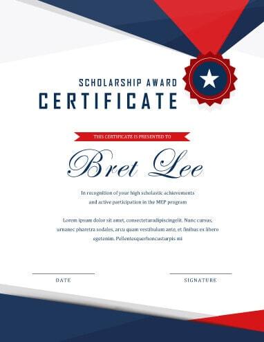 Scholarship Certificate \u2022 Hloom - design of certificate of participation