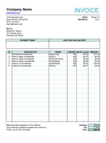 10 Free Freelance Invoice Templates Word / Excel - freelance writer invoice template